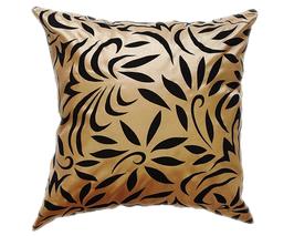 タイシルク クッションカバー  バンコク リーフ デザイン  ゴールド 【金】   【Bangkok Leaf Design , Gold / Thaisilk Cushion Cover】  45×45cm 対応
