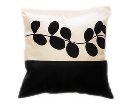 タイシルク クッションカバー  リーフ デザイン アイボリー 【白】  【Leaf Design , Ivory/ Thaisilk Cushion Cover】 45×45cm 対応