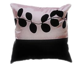 タイシルク クッションカバー  リーフ デザイン シルバー  【銀】 【Leaf Design , Silver / Thaisilk Cushion Cover】 45×45cm 対応