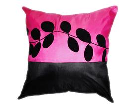 タイシルク クッションカバー  リーフ デザイン ピンク 【桃色】 【Leaf Design , Pink / Thaisilk Cushion Cover】 45×45cm 対応