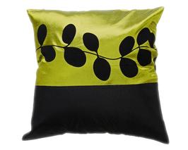タイシルク クッションカバー  リーフ デザイン グリーン 【緑】  【Leaf Design , Green / Thaisilk Cushion Cover】 45×45cm 対応