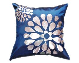 タイシルク クッションカバー  フラワー デザイン ネイビー 【紺色】  【Flower Design , Navy / Thaisilk Cushion Cover】 45×45cm 対応