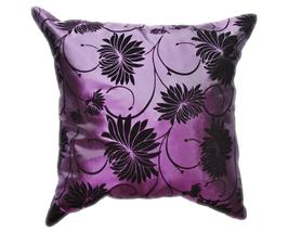 タイシルク クッションカバー  ロータス デザイン  パープル 【紫色】   【Lotus Design , Purple / Thaisilk Cushion Cover】  45×45cm 対応