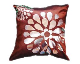 タイシルク クッションカバー  フラワー デザイン ブラウン 【茶色】  【Flower Design ,  Brown / Thaisilk Cushion Cover】 45×45cm 対応