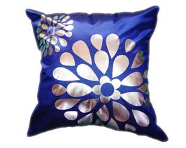 タイシルク クッションカバー  フラワー デザイン ブルー 【青】  【Flower Design , Blue / Thaisilk Cushion Cover】 45×45cm 対応