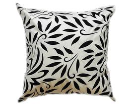 タイシルク クッションカバー  バンコク リーフ デザイン  ホワイト 【白】   【Bangkok Leaf Design , White / Thaisilk Cushion Cover】 45×45cm 対応