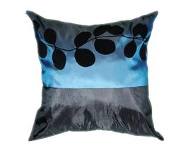 タイシルク クッションカバー  リーフ デザイン ターコイズブルー 【青】 【Leaf Design , Turquoise Blue / Thaisilk Cushion Cover】 45×45cm 対応