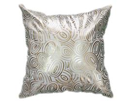 タイシルク クッションカバー  ゴールドリング デザイン ホワイト 【白】  【Gold Ring Design , White / Thaisilk Cushion Cover】 45×45cm 対応