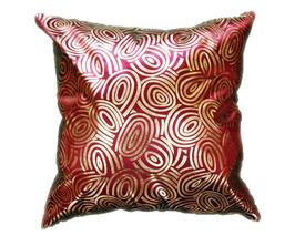 タイシルク クッションカバー  ゴールドリング デザイン ワインレッド 【赤】  【Gold Ring Design , Wine Red / Thaisilk Cushion Cover】 45×45cm 対応