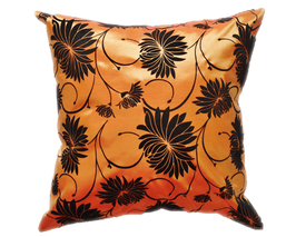 タイシルク クッションカバー  ロータス デザイン  オレンジ 【橙】   【Lotus Design , Orange / Thaisilk Cushion Cover】  45×45cm 対応