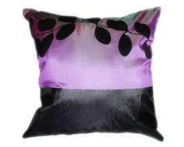 タイシルク クッションカバー  リーフ デザイン パープル 【紫色】 【Leaf Design , Purple / Thaisilk Cushion Cover】 45×45cm 対応
