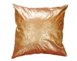 タイシルク クッションカバー  ゴールドリング デザイン オレンジ 【橙】  【Gold Ring Design , Orange / Thaisilk Cushion Cover】 45×45cm 対応