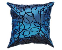 タイシルク クッションカバー  インフィニティ デザイン  ターコイズ ブルー 【青】   【Infinity Design , Turquoise Blue / Thaisilk Cushion Cover】  45×45cm 対応