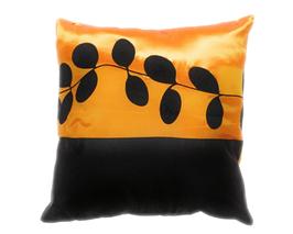 タイシルク クッションカバー  リーフ デザイン オレンジ 【橙】  【Leaf Design , Orange / Thaisilk Cushion Cover】 45×45cm 対応
