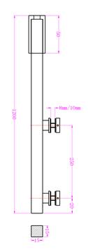 Stabilsierungsstange vertikal 15 x 15 mm, 1200 mm, Komplett-Set Glas-Decke, für 8 und 10 mm Glasdicke, Edelstahl poliert, Art.Nr. S1200PS