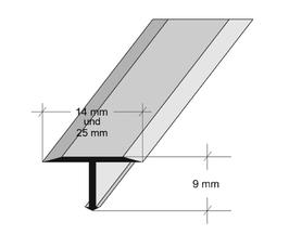 T-Profil Aluminium, Messing oder Chrom, für Fugenabdeckung; Länge: 200 cm