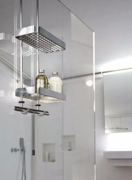 Edelstahl Duschkorb mit gerader Grundplatte (Loch), einhängbar an Glaskante 6 - 12 mm, Typ DK Nova2