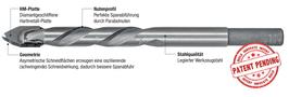 Spezialbohrer für Feinsteinzeugplatten und harte Fliesen, Typ Torpedo