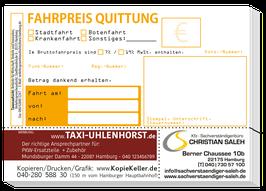 Taxi Quittung mit Kopie