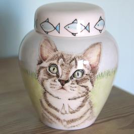 Standaard Urn maat Small, met portret Cyperse kat