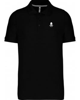 Polo Noir broderie blanche