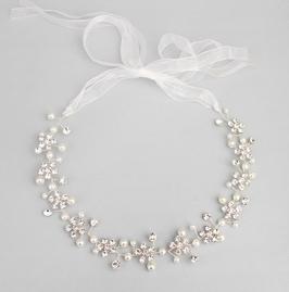 Haarband Blumen Strass Perlen Silber Haarschmuck Braut Haarschmuck Hochzeit N22245