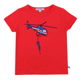 Kurzarmshirt mit Helikopter in red, Artikelnr. 201 01 05