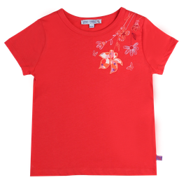 Kurzarmshirt mit Blumen Stickerei in red, Artikelnr. 201 01 04