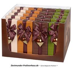 250g Belgische Pralinen im Geschenkkarton in exklusiv -braunfarbig- bedrucktem Geschenkpapier mit Satin-Schleife