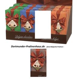 250g Belgische Pralinen im Geschenkkarton in edlem cappuccinofarbigen Geschenkpapier mit Satin-Schleife