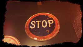 PANNEAU STOP BLEU ET ROUGE