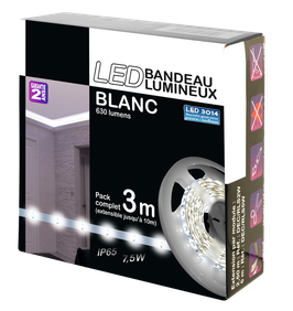 Kit complet strip blanc, 3 mètres, 60 led