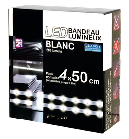 Kit complet strip blanc, 4x50cm, 60 led au mètre