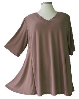 SunShine T-Shirt in A-Linie mit V-Ausschnitt Viskose Braun (UC-154-3)