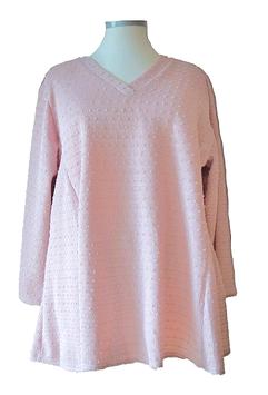 Bouclé-Knötchen Palietten Pullover A-Linie V-Ausschnitt Altrosé (P-329) (L2)