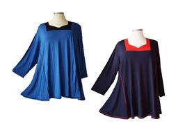 Color-Kombination Longshirt Tunika (Viskose-Mix) (LA-262)