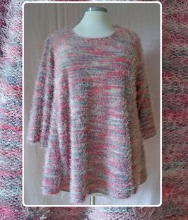 Langfloor Pullover in A-Linie Rosa Grau