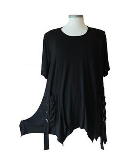 MicroWaben Bat-Zipfel Shirt mit Lackknöpfchen auf Rololook-Taschen Schwarz (ZS-RL-209)