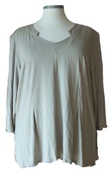 Shirt mit Kellerfalten und Designer-V-Ausschnitt Grau  (SPS-884)