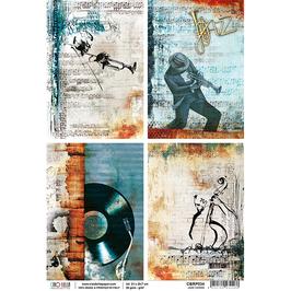 Ciao Bella-Reispapier/CBRP034-Jazz Cards