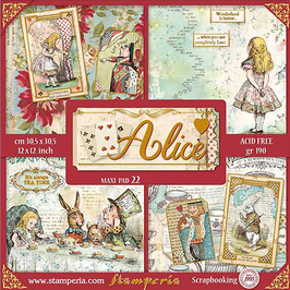 "Stamperia-Paper Pad Alice Gold Maxi 12x12"""