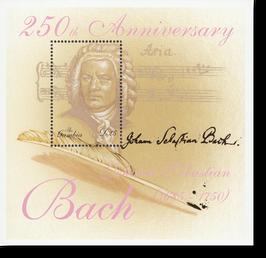 Block von Gambia zum 250. Todestag von Johann Sebastian Bach, 2000