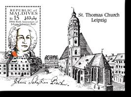 Block von den Malediven zum 300. Geburtstag von Johann Sebastian Bach, 1985