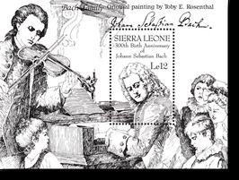 Block von Sierra Leone zum 300. Geburtstag von Johann Sebastian Bach, 1985