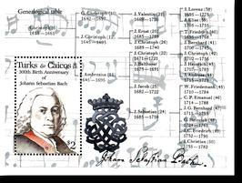 Block von den Turks + Caicos zum 300. Geburtstag von Johann Sebastian Bach, 1985