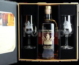 """Geschenkbox Säntismalt Alpstein XIII """"Port Finish"""" mit zwei Gläser."""