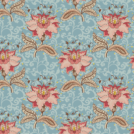 11703 FLORAL  JACOBEAN ARABESCO AZUL