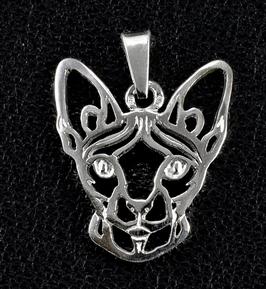 Sphynx Katze Typ I. als Scherenschnitt