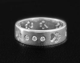 Ring mit 3 Zirkonias & Pfoten: GMH-401s