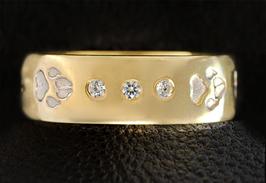 Ring mit 3 Zirkonias & Pfoten: GMH-403sp